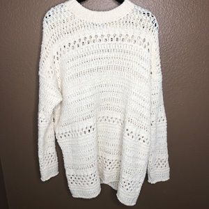 Zara Cream Oversized Knit Pullover Sweater